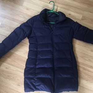 UNIQLO real down navy women's parka with hood